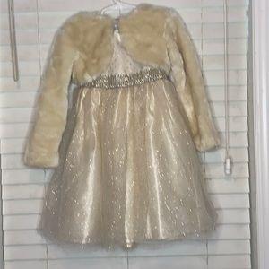 Blueberi Boulevard Cream/Gold Tulle/Stone Dress